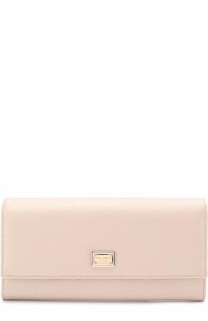 Кожаный кошелек с тиснением Dauphine Dolce & Gabbana. Цвет: светло-розовый
