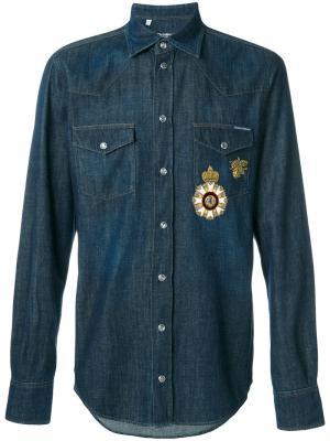 Джинсовая рубашка с аппликацией Dolce & Gabbana. Цвет: синий