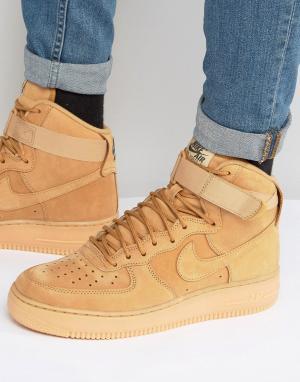 Nike Высокие светло-коричневые кроссовки Air Force 1 07 LV8 882096-20. Цвет: рыжий