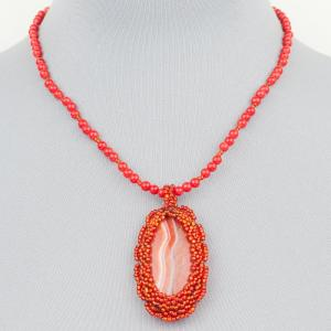 Авторский кулон коралловая роза агат, имитация коралла Бусики-Колечки