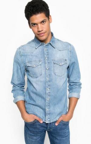 Джинсовая рубашка с карманами Pepe Jeans. Цвет: синий