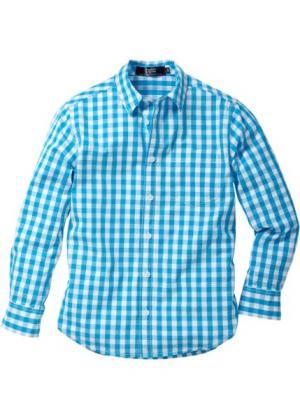 Рубашка в клетку (нежно-бирюзовый/белый клетку) bonprix. Цвет: нежно-бирюзовый/белый в клетку