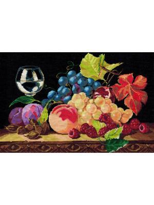 Натюрморт с виноградом набор для вышивания 26х40 см NITEX. Цвет: черный, красный, синий