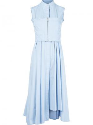 Асимметричное расклешенное платье с воротником-стойкой Jason Wu. Цвет: синий