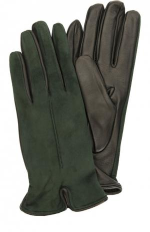 Перчатки из замши и кожи Sermoneta Gloves. Цвет: темно-зеленый