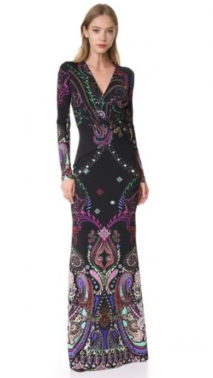 Вечернее платье с длинными рукавами Roberto Cavalli. Цвет: голубой