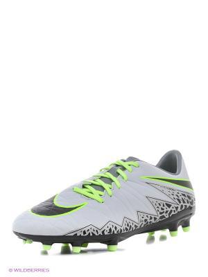 Бутсы HYPERVENOM PHELON II FG Nike. Цвет: белый, салатовый, черный