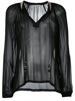 Прозрачная блузка с открытой горловиной Amen. Цвет: чёрный