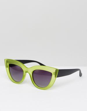 7X Зеленые солнцезащитные очки кошачий глаз с прозрачной оправой. Цвет: зеленый
