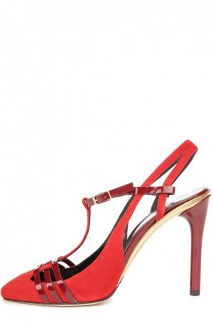 Замшевые туфли Rocio с ремешками Oscar de la Renta. Цвет: красный