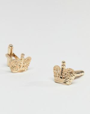 ASOS Золотистые запонки в форме короны. Цвет: золотой
