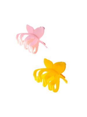 Заколка-краб (2 шт.) Happy Charms Family. Цвет: желтый, розовый