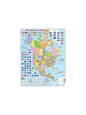 Пазл Северная Америка (Русский) LARSEN AS. Цвет: голубой, белый, оранжевый, желтый, синий, зеленый