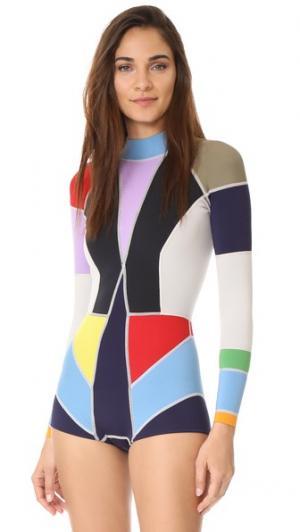 Гидрокостюм с цветными блоками Cynthia Rowley. Цвет: разноцветный