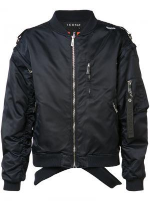 Куртка-бомбер с вырезными деталями Icosae. Цвет: синий