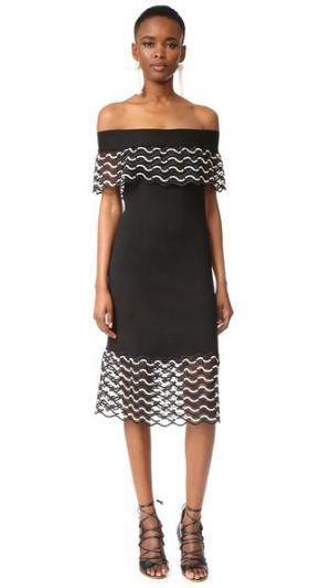 Платье с открытыми плечами Lela Rose. Цвет: белый