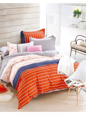 Сатин Евро размер на молниях 1st Home. Цвет: серый меланж, бледно-розовый, оранжевый