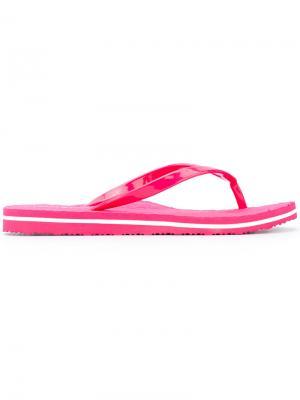 Шлепанцы с логотипом Tommy Hilfiger. Цвет: розовый и фиолетовый