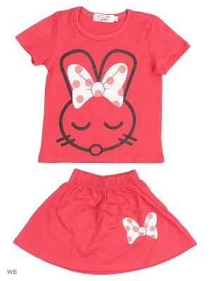 Футболка и юбка Happy Bear. Цвет: розовый