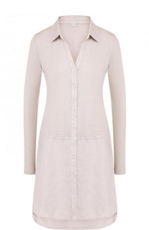 Однотонное льняное мини-платье с длинным рукавом 120% Lino. Цвет: бежевый