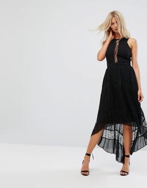 Adelyn Rae Платье макси с кружевными вставками и плиссированной юбкой. Цвет: черный