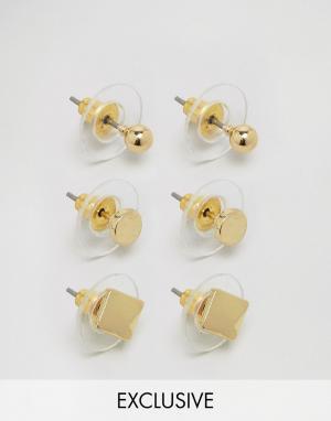 DesignB London 3 пары сережек-гвоздиков. Цвет: золотой