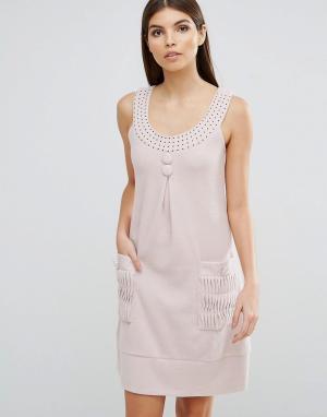Jasmine Платье А-силуэта с отделкой стразами. Цвет: кремовый