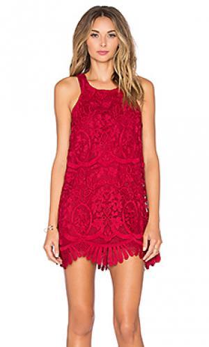 Платье caspian Lovers + Friends. Цвет: красный