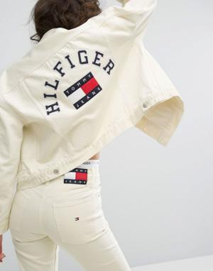Tommy Jeans Спортивная куртка в стиле 90-х. Цвет: желтый