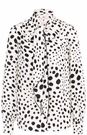 Шелковая блуза в горох с воротником аскот Marc Jacobs. Цвет: черно-белый