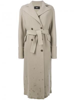 Двубортное пальто с потертой отделкой Yang Li. Цвет: телесный