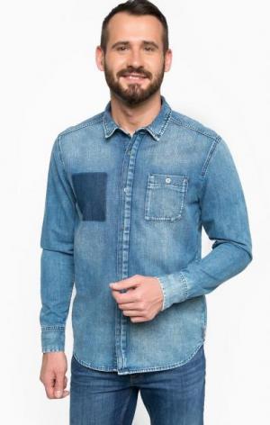 Джинсовая рубашка с нагрудным карманом Calvin Klein Jeans. Цвет: синий