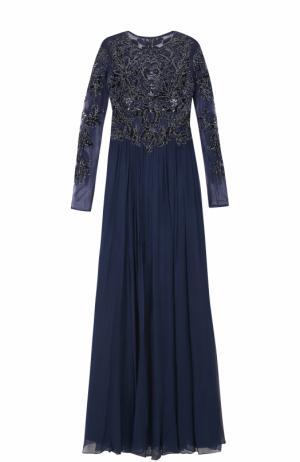 Платье-макси с длинным рукавом и декорированным лифом Basix Black Label. Цвет: темно-синий