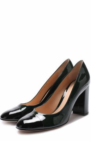 Лаковые туфли Langley на устойчивом каблуке Gianvito Rossi. Цвет: темно-зеленый