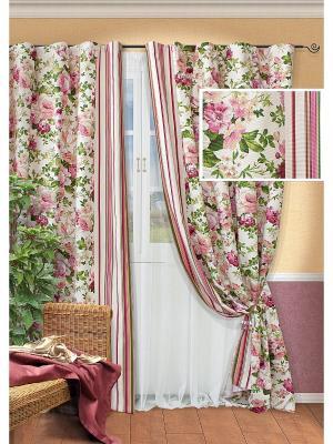 Комплект штор Paradise-S, Kauffort. Цвет: розовый, зеленый, светло-бежевый