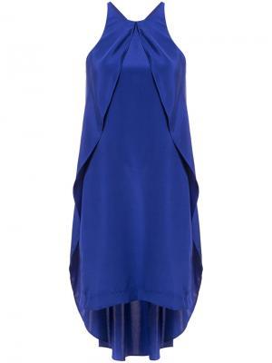 Платье с вырезом-петлей халтер Nicole Miller. Цвет: синий