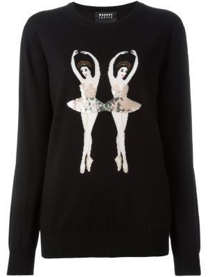 Свитер с вышивкой пайетками в виде балерины Markus Lupfer. Цвет: чёрный
