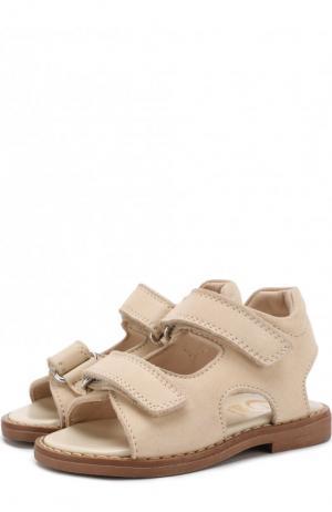 Замшевые сандалии на застежках велькро Gallucci. Цвет: бежевый
