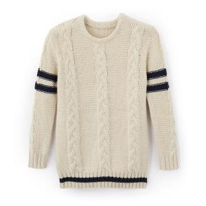 Пуловер из плетеного трикотажа 3-12 лет La Redoute Collections. Цвет: экрю