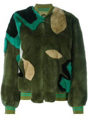 Пальто с панельным дизайном Army Yves Salomon. Цвет: зелёный