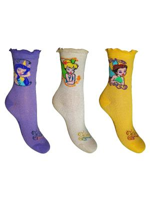 Носки 3 пары Master Socks. Цвет: фиолетовый, бежевый, желтый