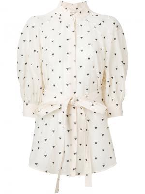 Блузка с принтом сердец Zimmermann. Цвет: телесный