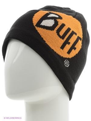 Шапка BUFF KNITTED HATS LOGO BLACK. Цвет: черный, серый