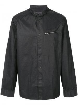 Приталенная рубашка с отделкой молниями John Varvatos. Цвет: чёрный
