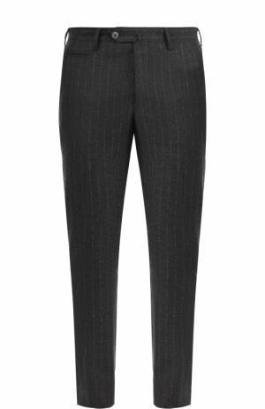 Шерстяные брюки в полоску прямого кроя Germano. Цвет: серый