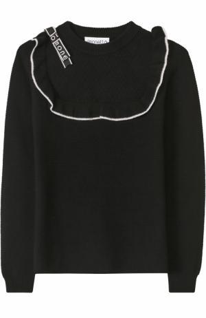 Вязаный пуловер из смеси шерсти и кашемира Simonetta. Цвет: черный