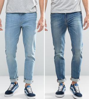 ASOS 2 джинсов скинни (голубые/синие). Цвет: синий