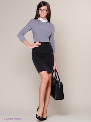 Платье Colambetta. Цвет: серый, белый, черный