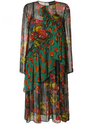 Платье с цветочным принтом и оборкой Marco Bologna. Цвет: многоцветный