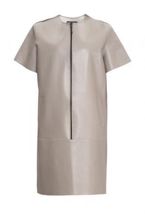 Кожаное платье 154875 Nikola Indelicato. Цвет: бежевый